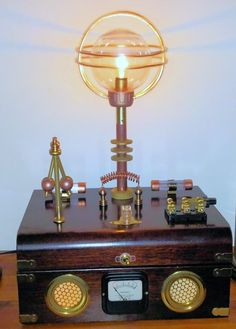 Accent light with Steampunk attributes. Features a working flyball governor.