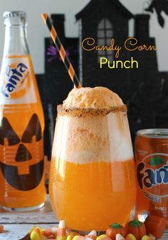 Candy Corn Punch - a spooktacular Halloween treat - Fanta, ice cream, cream soda - your little monsters will love it! #SpookySnackLab