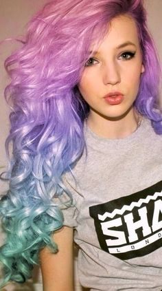 Hair Color Crazy Ombre Mermaid Cotton Candy 27 Ideas - All For Hair Color Balayage Pastel Green Hair, Vivid Hair Color, Hair Colors, Pastel Blue, Colourful Hair, Bright Hair, Pastel Goth, Pink Purple, Turquoise Hair