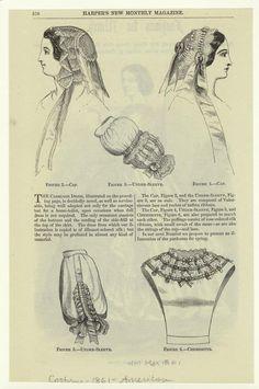 Caps, undersleeves, and chemisette, Harper's Magazine, March 1861; NYPL 803237