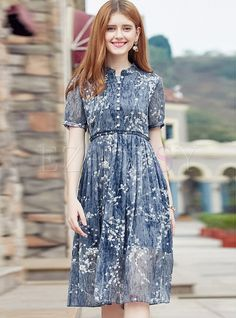 Shop for high quality Brief Print Stand Collar Short Sleeve Skater Dress online at cheap prices and discover fashion at Ezpopsy.com