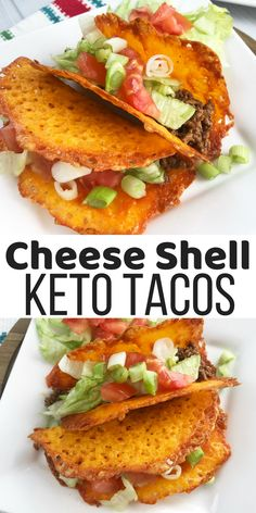 Cheese Shell Keto Tacos- Low Carb Tacos #cheeseshelltaco Cheese Shell Taco, Cheese Tacos, Keto Cheese, Ketogenic Diet Breakfast, Diet Meals, Diet Meal Plans, Keto Meal, Keto Snacks, Keto Foods