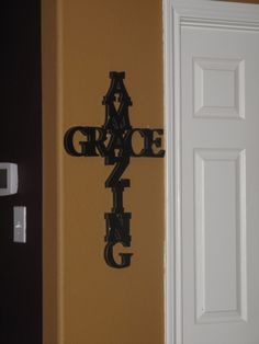 Letters from Hobby Lobby. Glue it into the shape a cross. LOVE!! Cute