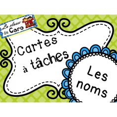 Cartes à tâches - LES NOMS Core French, French Class, French Nouns, Noms, Teaching French, Learn French, Boutique, Task Cards, Teacher Pay Teachers