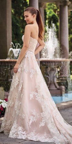 david tutera mc spring 2017 bridal strapless sweetheart neckline full embellishment lace romantic blush color a  line wedding dress chapel train (117276) sdv