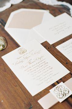 A blush pink and gold formal wedding invitation by @emilyjmccarthy | Brides.com