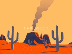 Far West after effects  c4d  cactus  cinema 4d  far west  gif  grain  motion design  motion graphics  sketchandtoon  tumbleweed  wester