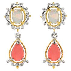 """155-200 - Gems en Vogue 1"""" Ethiopian Opal & Pear Shaped Gemstone Drop Earrings"""