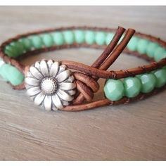 Boho leather wrap bracelet, Shabby chic, turquoise, silver daisy flower, featured in ETSY FASHION Cute! Do It Yourself Jewelry, Do It Yourself Fashion, Diy Schmuck, Schmuck Design, Turquoise Jewelry, Turquoise Bracelet, Leather Bracelet Tutorial, Leather Bracelets, Wrap Bracelets