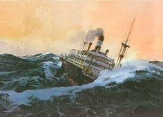 SS Waratah in high seas. Waves removed this ship so that not one piece or person was ever found again.