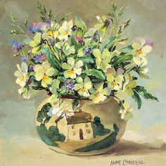 Heatsease and Forget-me-nots - Blank Card | Mill House Fine Art – Publishers of Anne Cotterill Flower Art