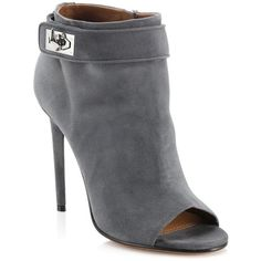 Givenchy Suede Peep-Toe Shark Lock Booties ($975) ❤ liked on Polyvore featuring shoes, boots, ankle booties, apparel & accessories, grey, peep toe bootie, suede boots, short boots, grey booties and grey suede booties