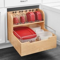 Food Storage Pull Out Drawer restore some sanity with this unique storage solution. The food storage container is made with a sturdy dovetail construction, stylish chrome accent rails and blur motion soft-close slides. Take back your cabinet space, Kitchen Cabinet Drawers, Kitchen Drawer Organization, Best Kitchen Cabinets, Diy Kitchen Storage, Diy Storage, Food Storage, Cabinet Space, Storage Organization, Storage Ideas