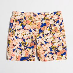 """J. Crew floral stretch chino shorts stretch chino short in blue peach elisie.  Cotton with a hint of stretch. Sits just above hip. Side zip. Off-seam pockets, back welt pockets. 5"""" inseam. Machine wash. From Factory. J. Crew Shorts"""