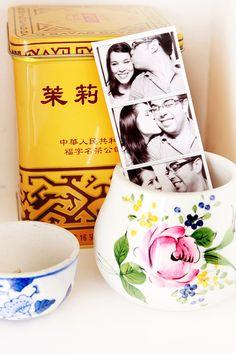 Pot, pictures, tea-tin