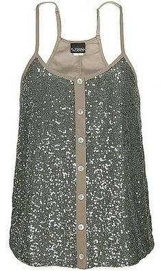 A glitter tank looks great under a translucent shirt or a detailed jacket.