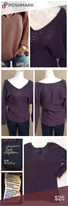 "Plum Chunky Sweater Chunky knit sweater in all over plum color. Deep V-neck, can be worn off-shoulder. Dolman sleeves. Acrylic/mohair/wool fabric blend. Size M, runs generous. Approximately 20"" chest, 28"" length. By American Eagle Outfitters American Eagle Outfitters Sweaters V-Necks"