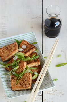 sesame-crusted tofu because this is, after all, a vegetarian board