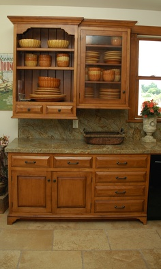 handles on oak cabinets-like flooring and countertops