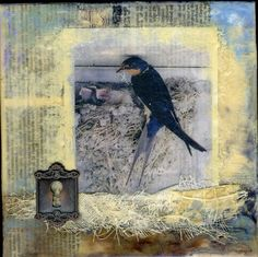 Encaustic painting and mixed media collage by glendabaileydesigns, $55.00