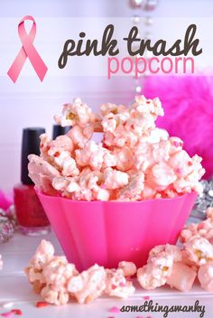 Pink Trash Popcorn    Ingredients        1 standard sized bag microwave popcorn, popped      1 package Pink Wilton Candy Melts      1 sleeve Golden Oreos      3 cups miniature marshmallows