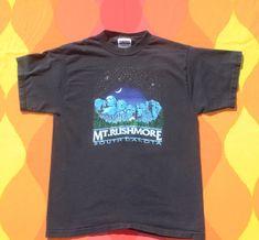 54b216a27 vintage 90s kid t-shirt MOUNT RUSHMORE travel nature black tee children XL  16 adult xs
