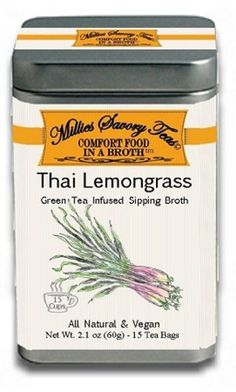 Millies Savory Teas - Thai Lemongrass Green Tea Infused Sipping Broth (2Pack/Box) All Natural and Vegan Spices Infused in Green Tea - Low Calorie No Carbohydrate Drink or Snack Food - http://allaboutvegan.pesonashop.com/millies-savory-teas-thai-lemongrass-green-tea-infused-sipping-broth-2packbox-all-natural-and-vegan-spices-infused-in-green-tea-low-calorie-no-carbohydrate-drink-or-snack-food
