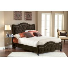 Hillsdale Trieste Upholstered Low Profile Bed - Chocolate - HL3131