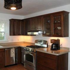 Kitchen Remodel with Adams Cherry Cabinets, Wilsonart Sandy Topaz Laminate Tops
