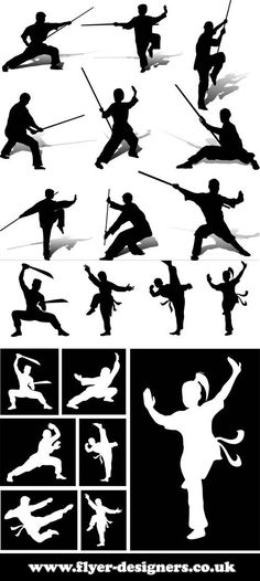tai chi and martial arts silhouettes ideal for martial art flyers www.flyer-designers.co.uk #taichi #martialarts #silhoette