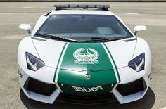 A handout picture released by Dubai Police Office shows the new Lamborghini Aventador which is used