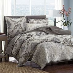 Legends® Raleigh Damask Sateen Duvet Cover / Sham - Damask florals look chic and modern on this cotton sateen duvet cover, cast in a palette of sophisticated neutrals.