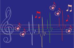 PublicDomainVectors.org-Vector illustration of an an abstract graphic showing musical notes over a heartbeat diagram. Color drawing of a musical heartbeat.