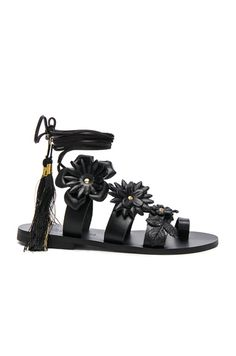570df3a9cc8208 Shop for Elina Linardaki for FWRD Leather Lace up Sandals in Black at FWRD.  Free 2 day shipping and returns.