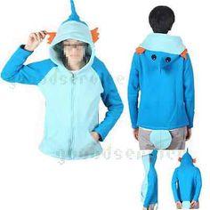 Pokemon Cosplay Anime Costume Ears Tail Zip Coat Sweatshirt Hoodie Jacket