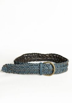 levy braided belt  $17.99  This faux leather belt in blue features a unique woven design with an antiqued gold buckle.