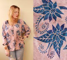 Vintage  90s Natural Tone  Pink & Blue  Batik  by starlingdarlin