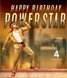 4 days 2 go ! Biggest festival for Fans Pawan Kalyan Wallpapers, Power Star, Very Happy Birthday, Fans, Actors, Gallery, Movies, Movie Posters, Roof Rack