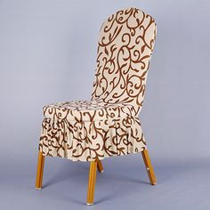 Soft Stretch Spandex Pattern Chair Covers For Wedding Chairs Short Skirt Dining Chair Cover Champagne Coffee V20