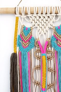 Colourful ethnic macrame wall hanging with tassels