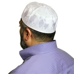 White Cotton Blend with Embroidery Knitted Kufi Muslim Prayer Mens Skull Cap
