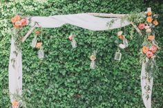 I love the bridal canopy but not the hanging floral vases
