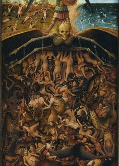 The Crucifixion - The Last Judgment religious art painting by Jan van Eyck - Only the religious mind can come up with such evil imagery. Jan Van Eyck, Arte Horror, Horror Art, Medieval Art, Renaissance Art, Memento Mori, Pintura Colonial, The Last Judgment, Maleficarum