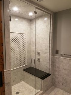 Carrara Marble Steam shower, with glass shower door with steam vent at top. Rain head, body sprays and hand-held Master Bathroom Shower, Laundry Room Bathroom, Basement Bathroom, Modern Bathroom Design, Bathroom Interior, Bathroom Ideas, Steam Room Shower, Steam Showers, Glass Shower Doors