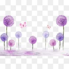 Purple Dandelion, Diente De Leon, Púrpura Romántico, Mariposa PNG y PSD
