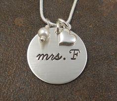 Wedding+Charm+Initial+Necklace++Hand+Stamped+by+BarbFredinDesigns,+$33.00