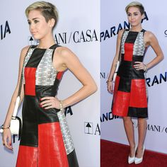 Miley Cyrus wearing a Proenza Schouler patchwork whipsnake leather dress
