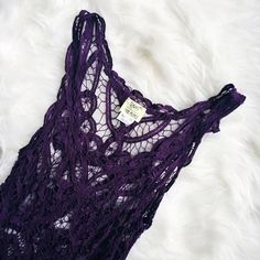 Free People Lace Dress  This dress is a DREAM. Can be worn as a slip under another dress OR over a slip to be the main feature. The lace is a crochet-style in a fabulous amethyst color. This is a must-have piece and photos do not do it justice- make me an offer so you can see how beautiful it is on you! Free People Dresses