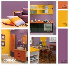 El color lavanda, acompañado de colores contrastantes, puede darle un aspecto muy acogedor a tus espacios. ¡Pruébalo!    #Comex #hogar #combinaciones #decoracion