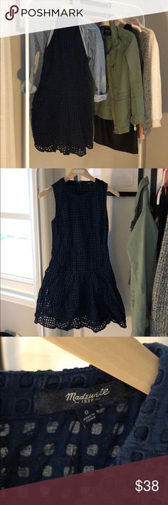 Madewell Navy Eyelet Dress Ready for spring? This dress is! Deep navy. Eyelets are super cute! I bought this dress for my engagement pictures and only wore it for that! Great Madewell quality. Madewell Dresses Midi